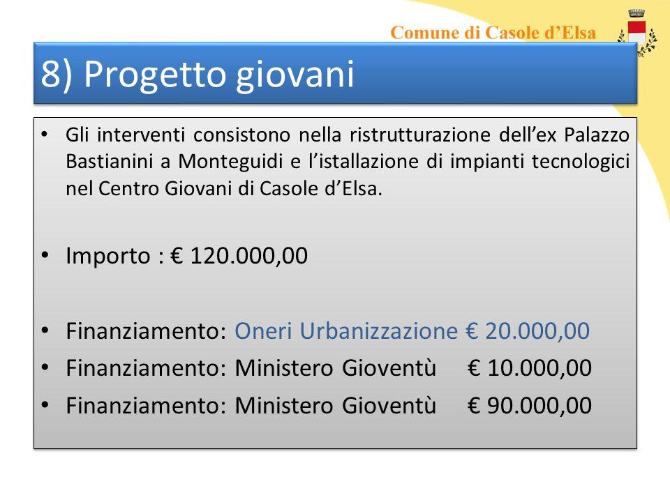 8) Progetto giovani Gli interventi consistono nella ristrutturazione dellex Palazzo Bastianini a Monteguidi e listallazione di impianti tecnologici ne