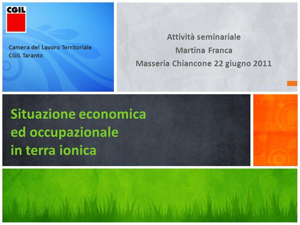 Occupati a Taranto Occupati fino a 10 ore12.400 Taranto pari a 7,5% Media Puglia 8,8% Media Italia10,7% Occupati oltre 30 ore Taranto pari a77,8% Puglia73,3% Italia71,0%