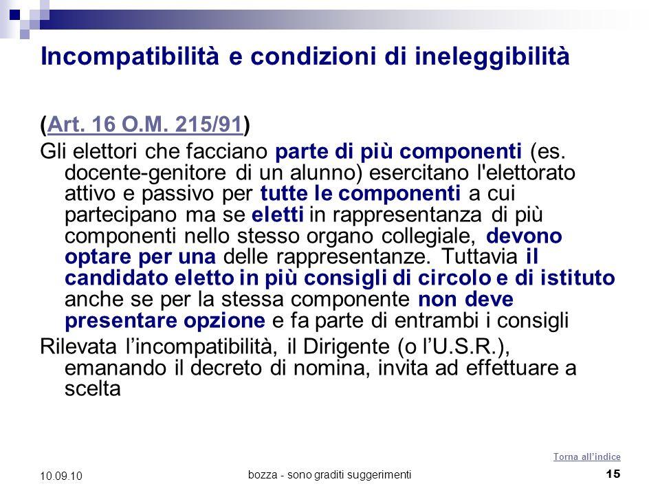 bozza - sono graditi suggerimenti15 10.09.10 Incompatibilità e condizioni di ineleggibilità (Art.