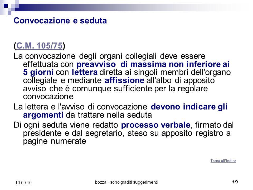 bozza - sono graditi suggerimenti19 10.09.10 Convocazione e seduta (C.M.