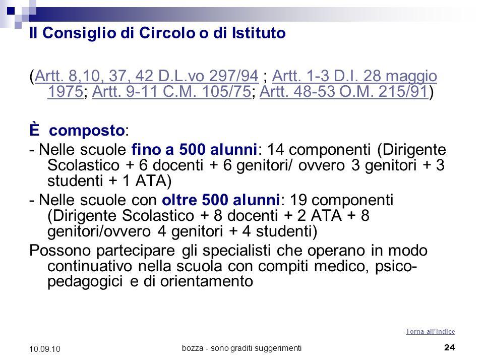 bozza - sono graditi suggerimenti24 10.09.10 Il Consiglio di Circolo o di Istituto (Artt.