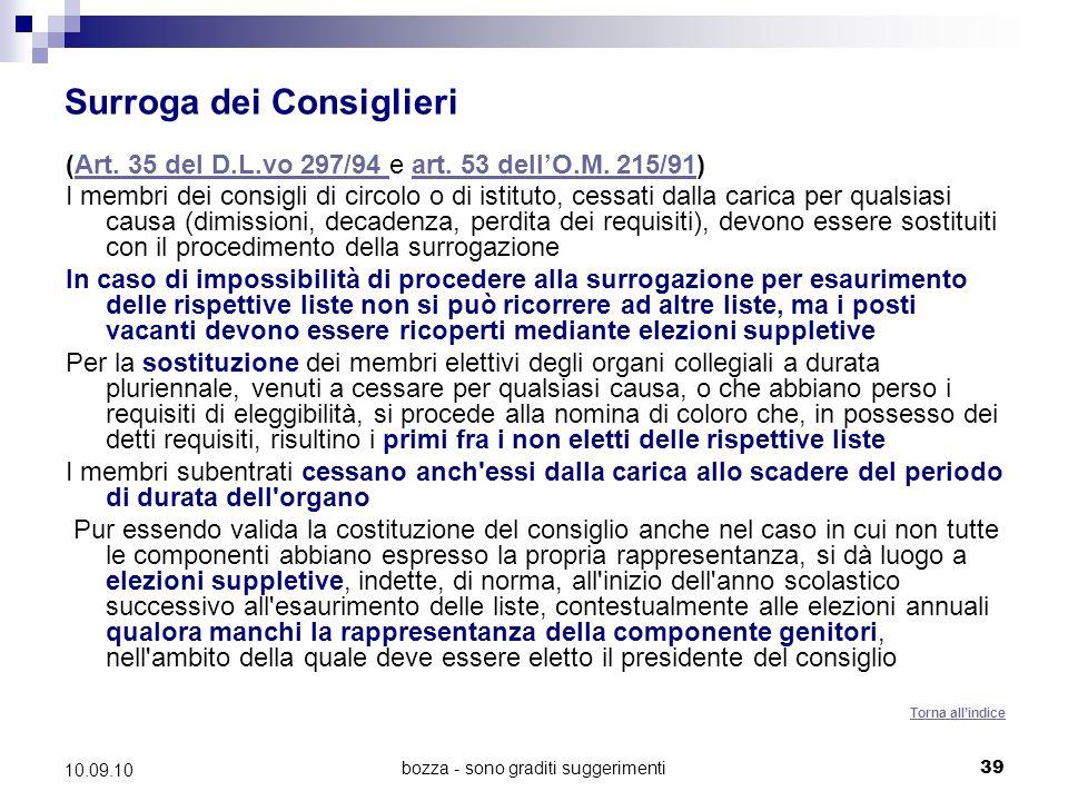 bozza - sono graditi suggerimenti39 10.09.10 Surroga dei Consiglieri (Art.