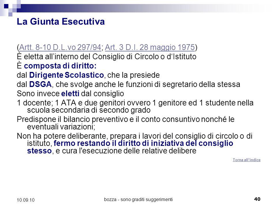 bozza - sono graditi suggerimenti40 10.09.10 La Giunta Esecutiva (Artt.