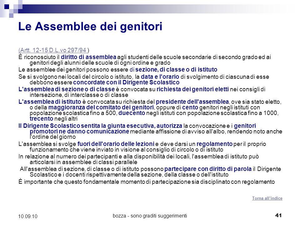 bozza - sono graditi suggerimenti41 10.09.10 Le Assemblee dei genitori (Artt.