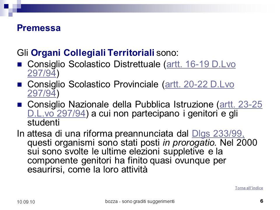 bozza - sono graditi suggerimenti6 10.09.10 Premessa Gli Organi Collegiali Territoriali sono: Consiglio Scolastico Distrettuale (artt.