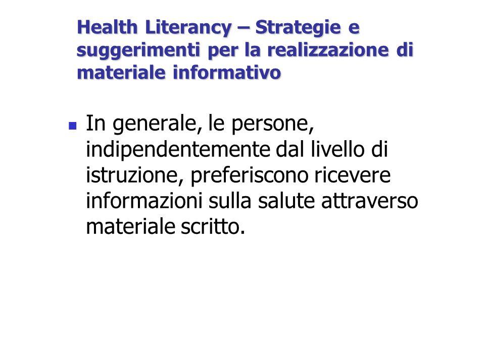 In generale, le persone, indipendentemente dal livello di istruzione, preferiscono ricevere informazioni sulla salute attraverso materiale scritto.