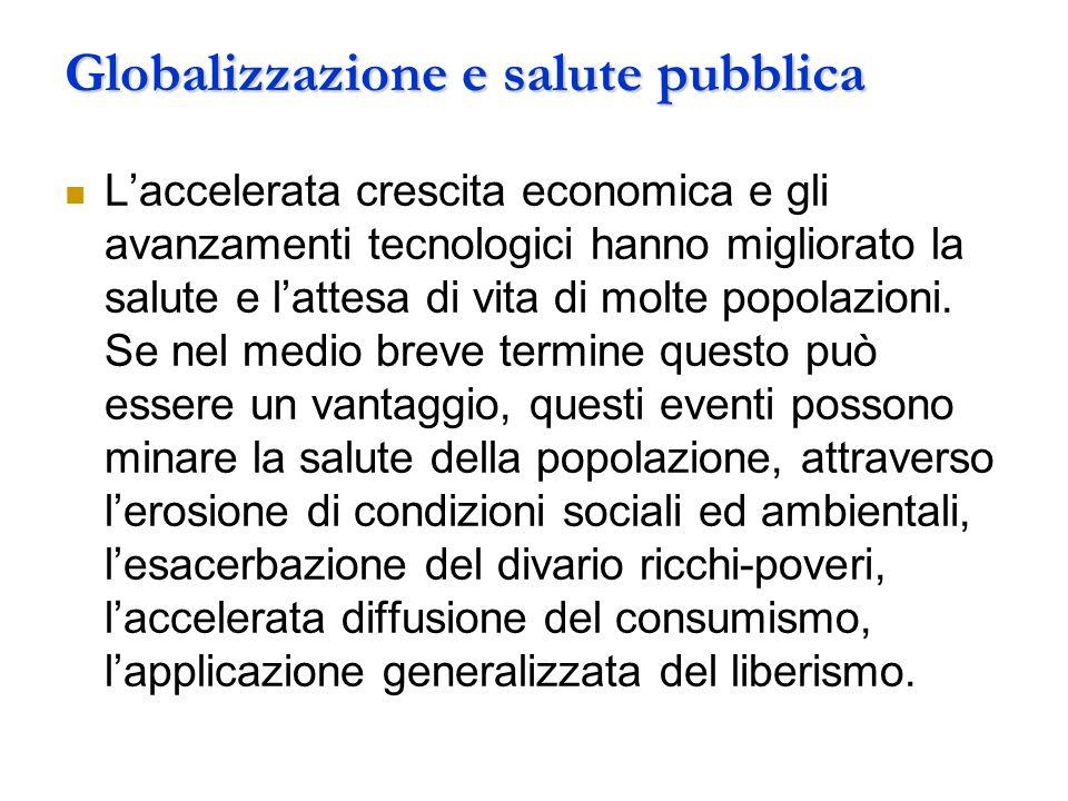 Globalizzazione e salute pubblica Laccelerata crescita economica e gli avanzamenti tecnologici hanno migliorato la salute e lattesa di vita di molte popolazioni.
