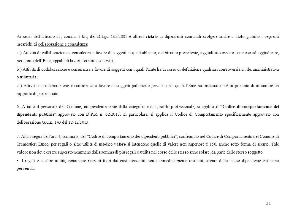 Ai sensi dellarticolo 53, comma 3-bis, del D.Lgs. 165/2001 è altresì vietato ai dipendenti comunali svolgere anche a titolo gratuito i seguenti incari