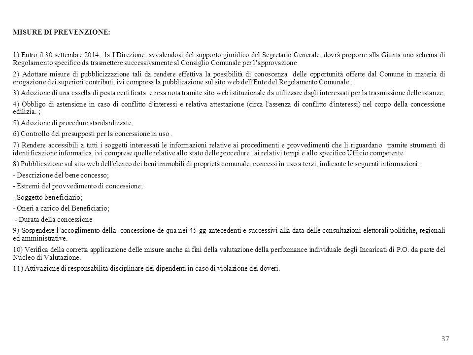 MISURE DI PREVENZIONE: 1) Entro il 30 settembre 2014, la I Direzione, avvalendosi del supporto giuridico del Segretario Generale, dovrà proporre alla