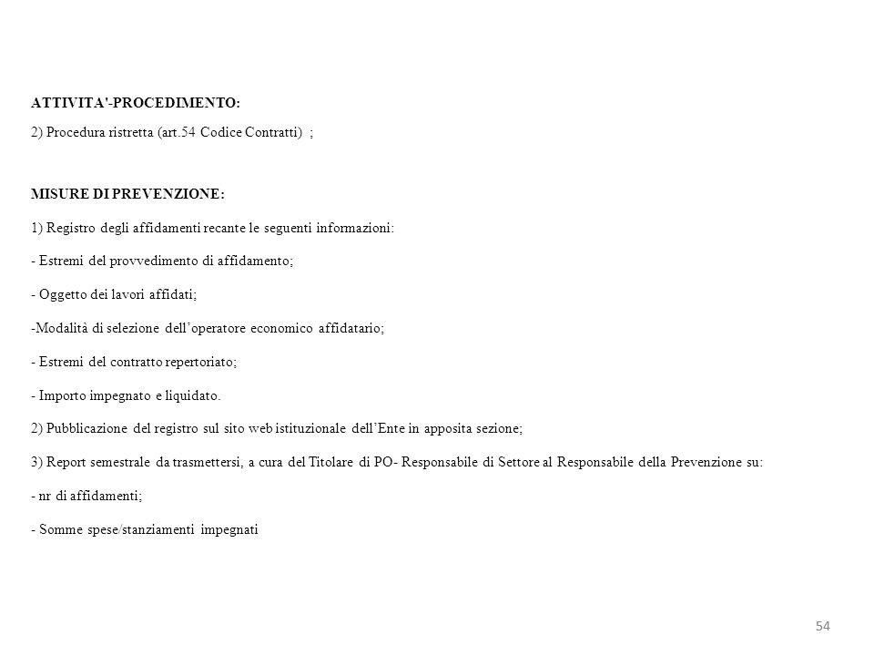 ATTIVITA'-PROCEDIMENTO: 2) Procedura ristretta (art.54 Codice Contratti) ; MISURE DI PREVENZIONE: 1) Registro degli affidamenti recante le seguenti in