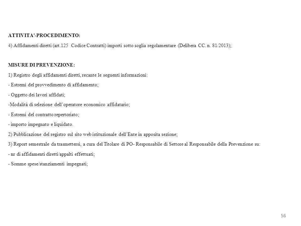 ATTIVITA'-PROCEDIMENTO: 4) Affidamenti diretti (art.125 Codice Contratti) importi sotto soglia regolamentare (Delibera CC. n. 81/2013); MISURE DI PREV