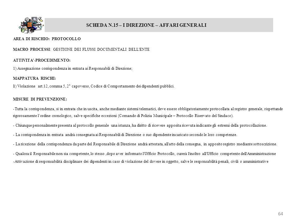 SCHEDA N.15 – I DIREZIONE – AFFARI GENERALI AREA DI RISCHIO: PROTOCOLLO MACRO PROCESSI: GESTIONE DEI FLUSSI DOCUMENTALI DELL'ENTE ATTIVITA'-PROCEDIMEN
