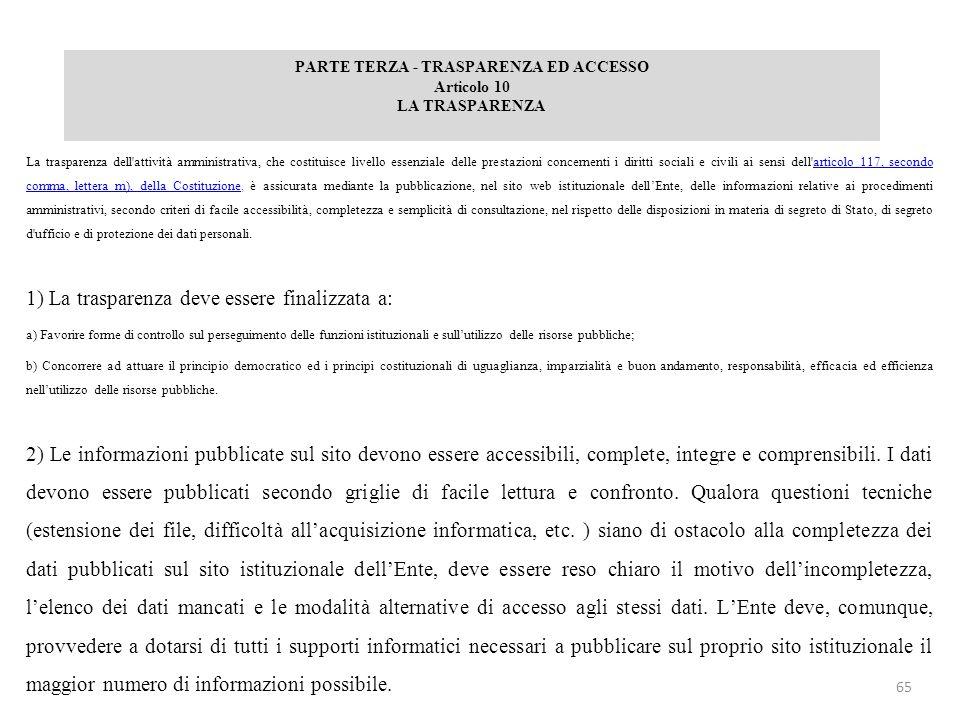 PARTE TERZA - TRASPARENZA ED ACCESSO Articolo 10 LA TRASPARENZA La trasparenza dell'attività amministrativa, che costituisce livello essenziale delle