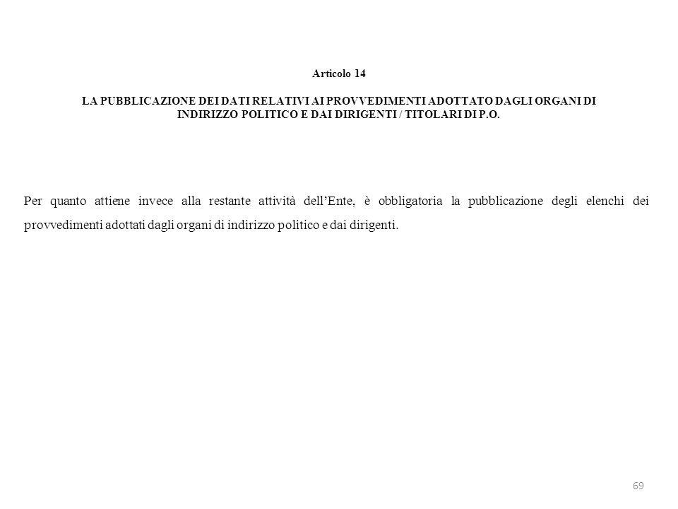 Articolo 14 LA PUBBLICAZIONE DEI DATI RELATIVI AI PROVVEDIMENTI ADOTTATO DAGLI ORGANI DI INDIRIZZO POLITICO E DAI DIRIGENTI / TITOLARI DI P.O. Per qua
