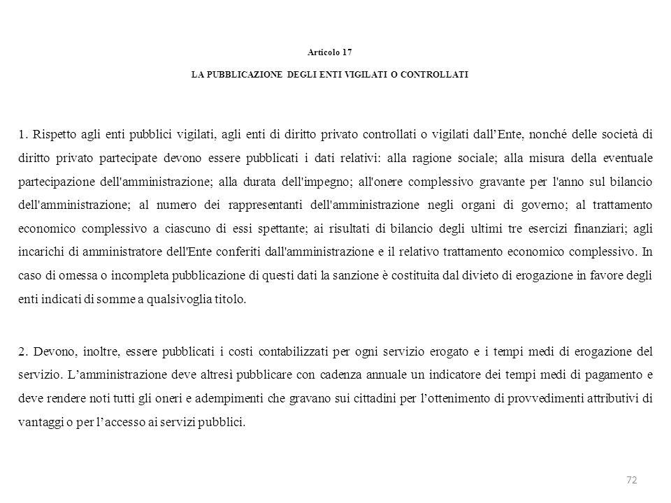 Articolo 17 LA PUBBLICAZIONE DEGLI ENTI VIGILATI O CONTROLLATI 1. Rispetto agli enti pubblici vigilati, agli enti di diritto privato controllati o vig