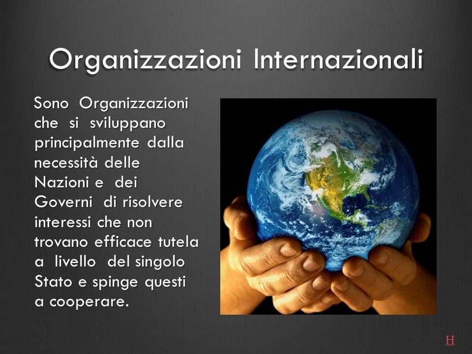 Organizzazioni Internazionali Sono Organizzazioni che si sviluppano principalmente dalla necessità delle Nazioni e dei Governi di risolvere interessi