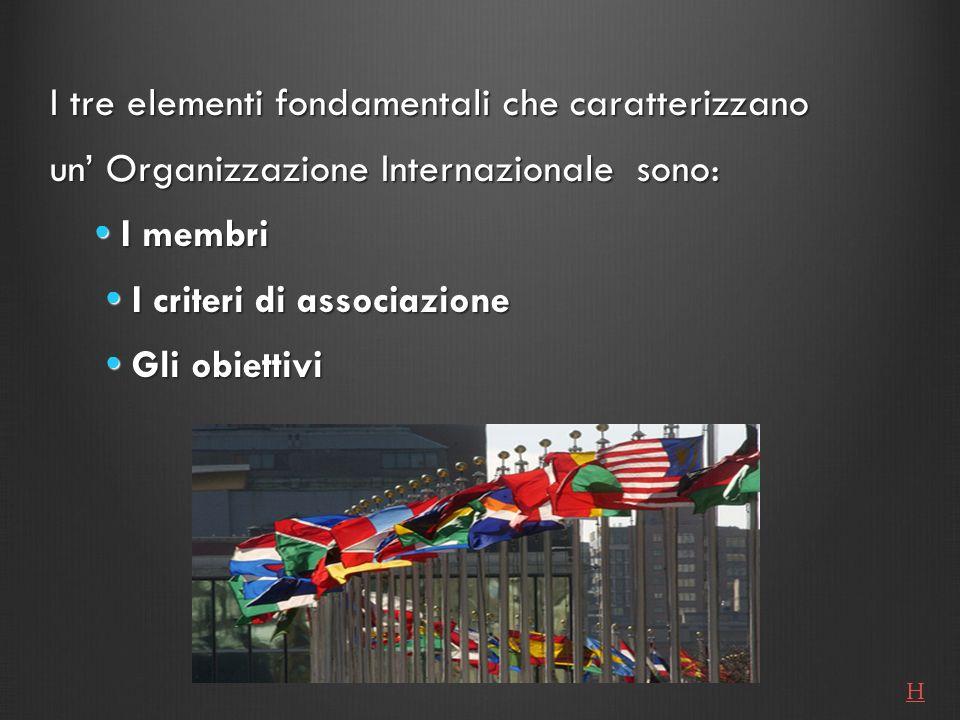 I tre elementi fondamentali che caratterizzano un Organizzazione Internazionale sono: I membri I membri I criteri di associazione I criteri di associa