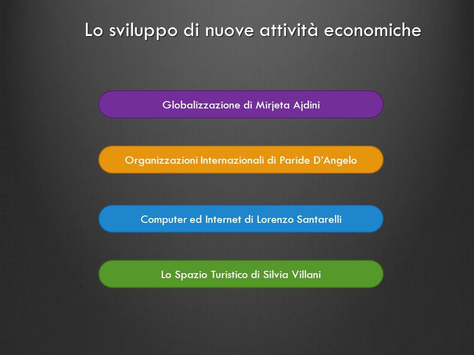 Globalizzazione di Mirjeta Ajdini Computer ed Internet di Lorenzo Santarelli Lo sviluppo di nuove attività economiche Organizzazioni Internazionali di