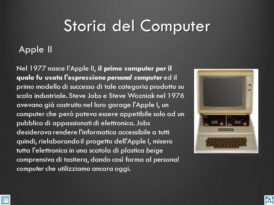 Storia del Computer Nel 1977 nasce lApple II, il primo computer per il quale fu usata l'espressione personal computer ed il primo modello di successo