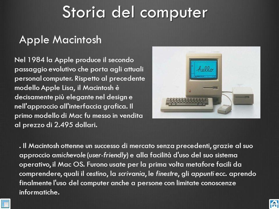 Storia del computer Nel 1984 la Apple produce il secondo passaggio evolutivo che porta agli attuali personal computer. Rispetto al precedente modello