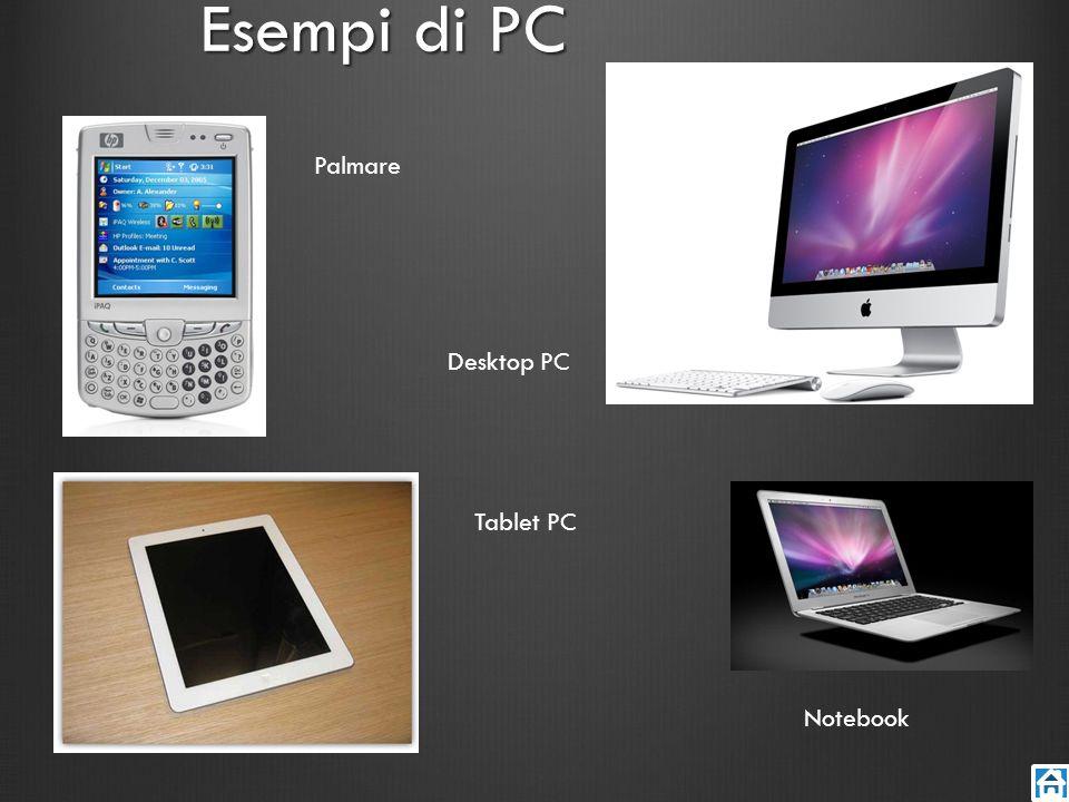Esempi di PC Palmare Tablet PC Desktop PC Notebook