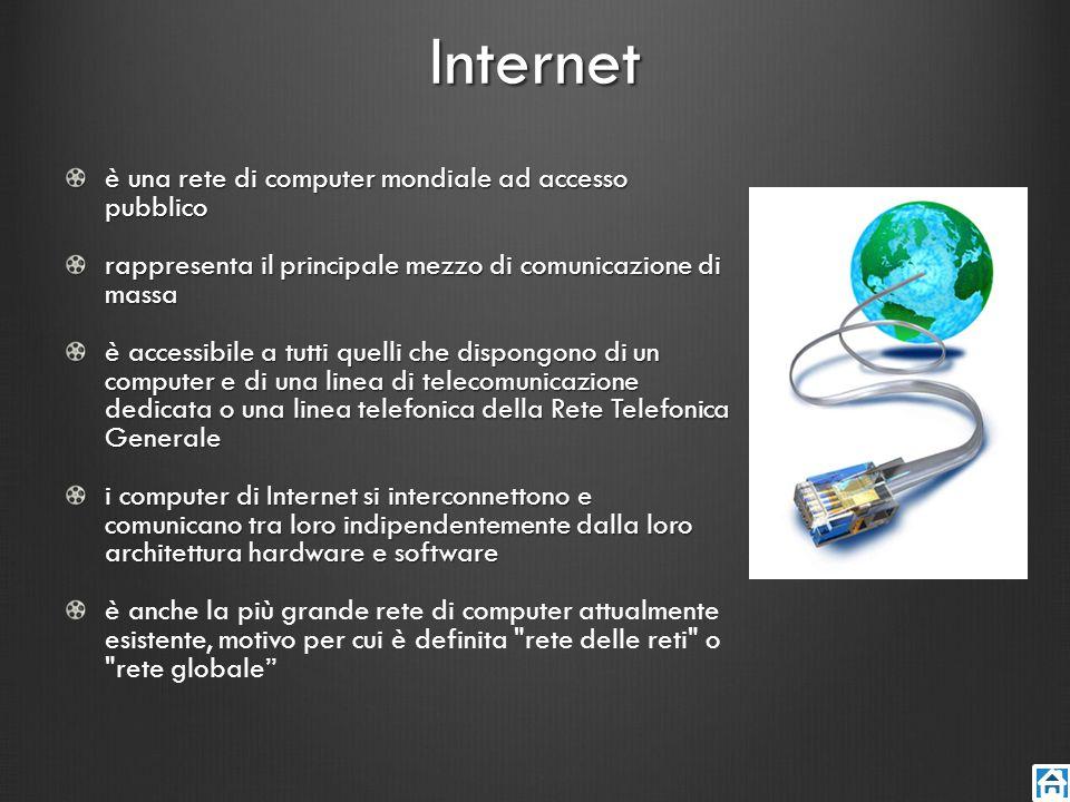 Internet è una rete di computer mondiale ad accesso pubblico rappresenta il principale mezzo di comunicazione di massa è accessibile a tutti quelli ch