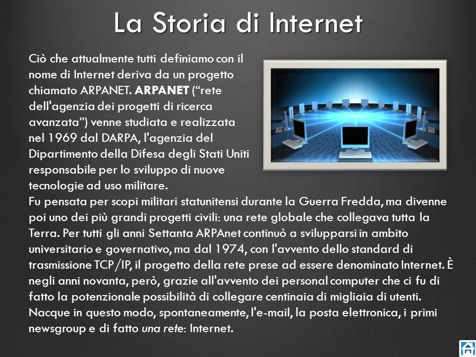La Storia di Internet Ciò che attualmente tutti definiamo con il nome di Internet deriva da un progetto chiamato ARPANET. ARPANET (rete dell'agenzia d