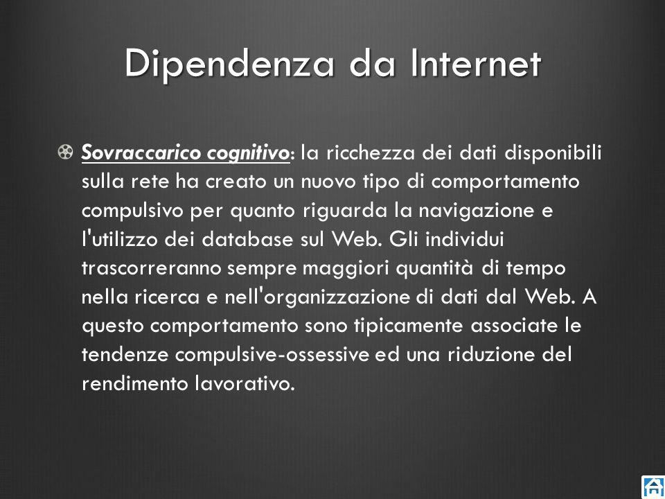 Dipendenza da Internet Sovraccarico cognitivo: la ricchezza dei dati disponibili sulla rete ha creato un nuovo tipo di comportamento compulsivo per qu