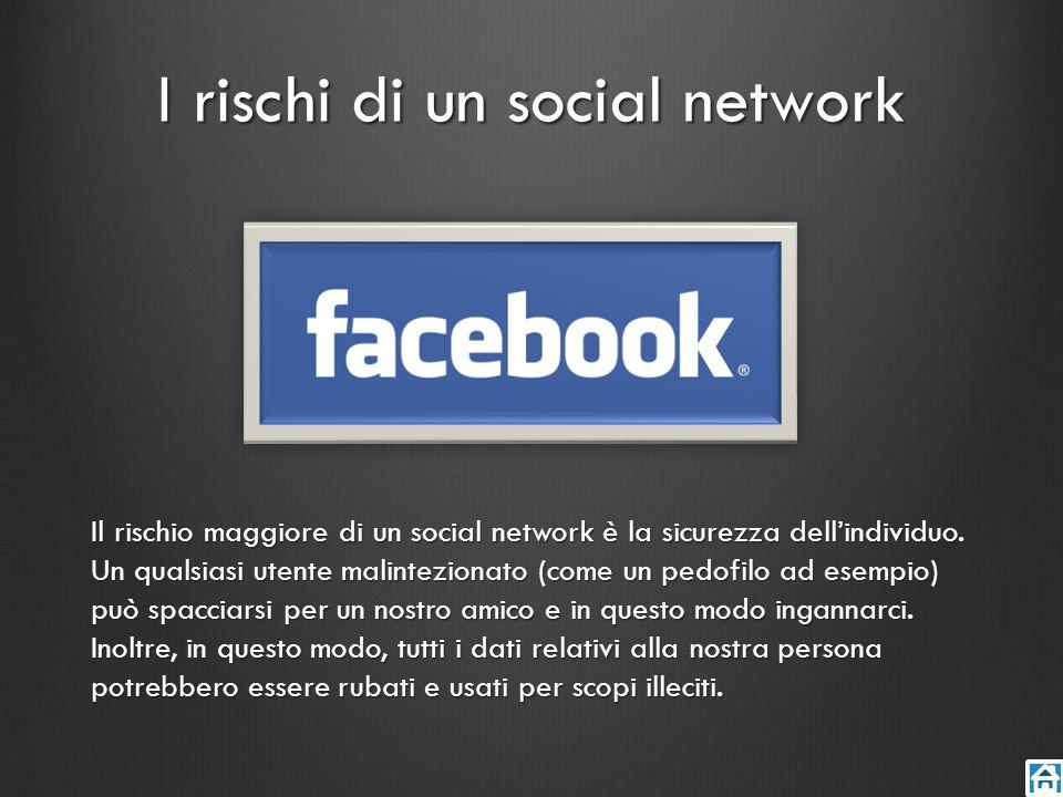 I rischi di un social network Il rischio maggiore di un social network è la sicurezza dellindividuo. Un qualsiasi utente malintezionato (come un pedof