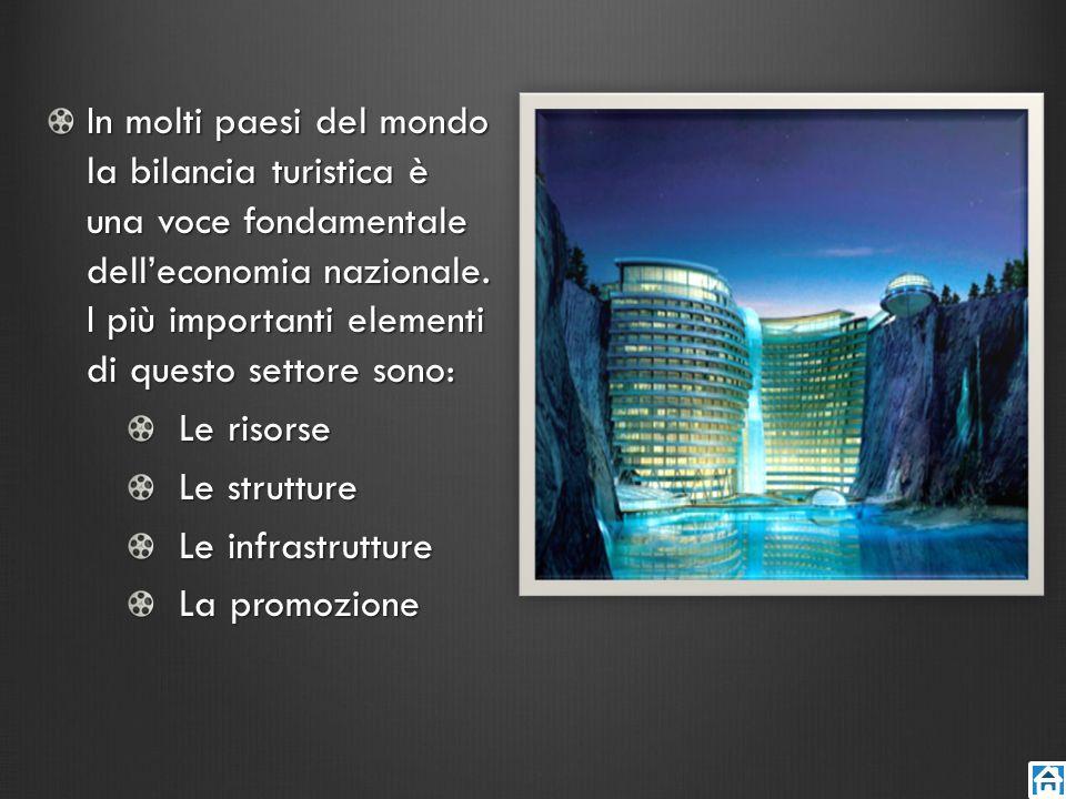 In molti paesi del mondo la bilancia turistica è una voce fondamentale delleconomia nazionale. I più importanti elementi di questo settore sono: Le ri