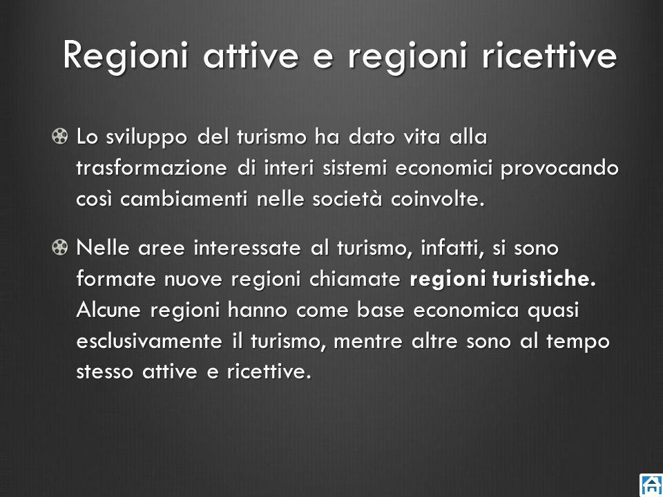 Regioni attive e regioni ricettive Lo sviluppo del turismo ha dato vita alla trasformazione di interi sistemi economici provocando così cambiamenti ne