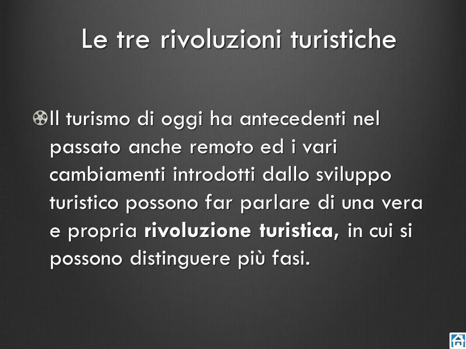 Le tre rivoluzioni turistiche Il turismo di oggi ha antecedenti nel passato anche remoto ed i vari cambiamenti introdotti dallo sviluppo turistico pos