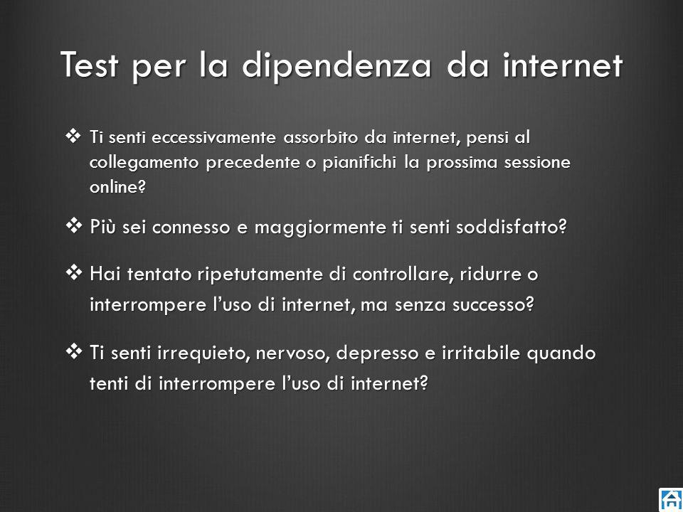 Test per la dipendenza da internet Ti senti eccessivamente assorbito da internet, pensi al collegamento precedente o pianifichi la prossima sessione o