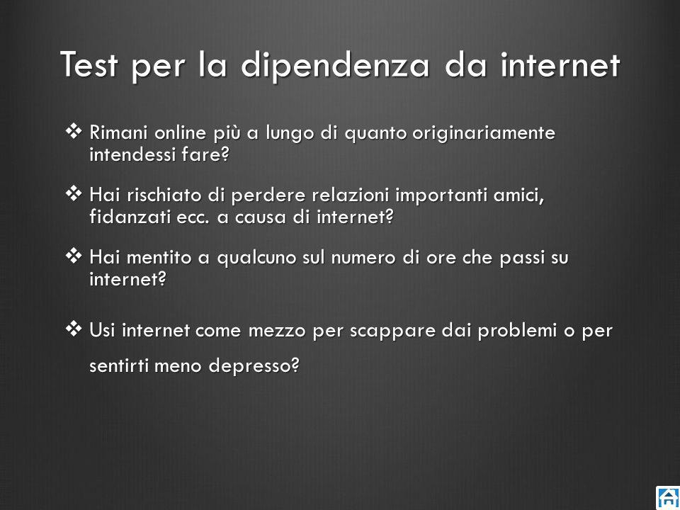 Test per la dipendenza da internet Rimani online più a lungo di quanto originariamente intendessi fare? Rimani online più a lungo di quanto originaria