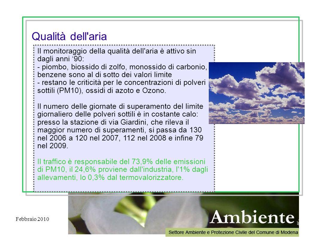 Febbraio 2010 Il monitoraggio della qualità dell'aria è attivo sin dagli anni 90: - piombo, biossido di zolfo, monossido di carbonio, benzene sono al