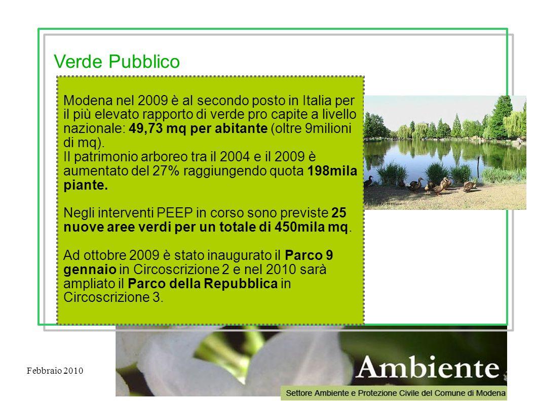 Febbraio 2010 Modena nel 2009 è al secondo posto in Italia per il più elevato rapporto di verde pro capite a livello nazionale: 49,73 mq per abitante