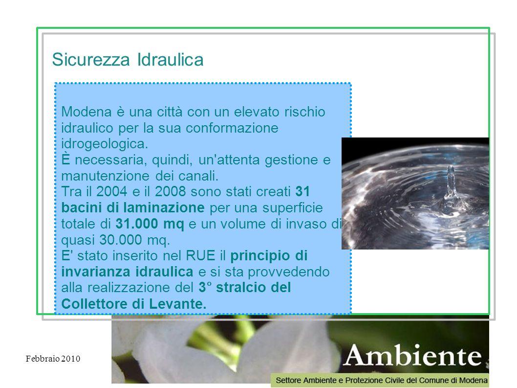 Febbraio 2010 Modena è una città con un elevato rischio idraulico per la sua conformazione idrogeologica. È necessaria, quindi, un'attenta gestione e