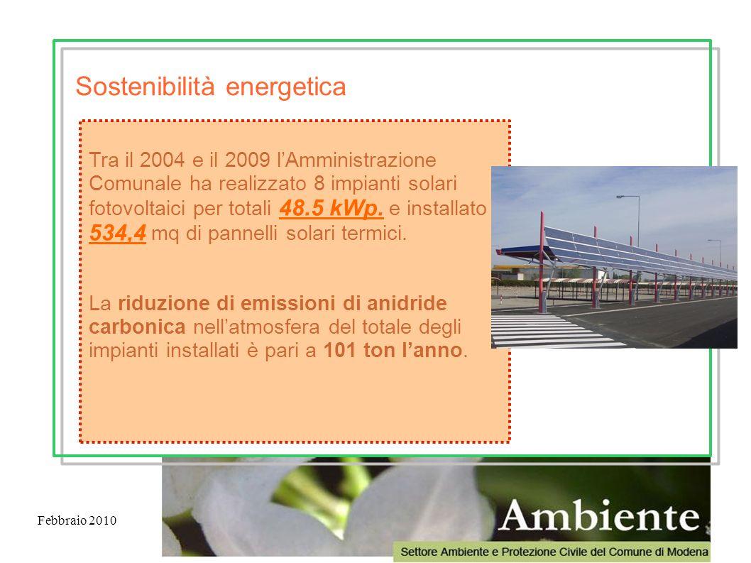 Febbraio 2010 Tra il 2004 e il 2009 lAmministrazione Comunale ha realizzato 8 impianti solari fotovoltaici per totali 48.5 kWp. e installato 534,4 mq
