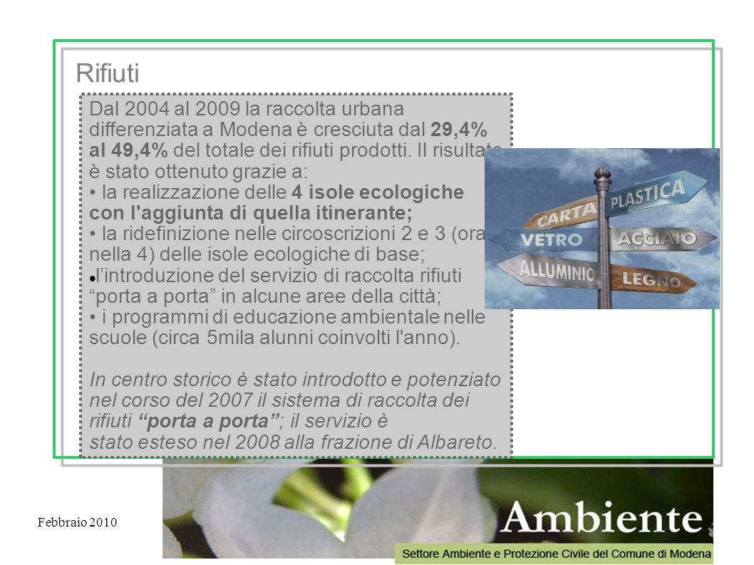 Febbraio 2010 Dal 2004 al 2009 la raccolta urbana differenziata a Modena è cresciuta dal 29,4% al 49,4% del totale dei rifiuti prodotti. Il risultato