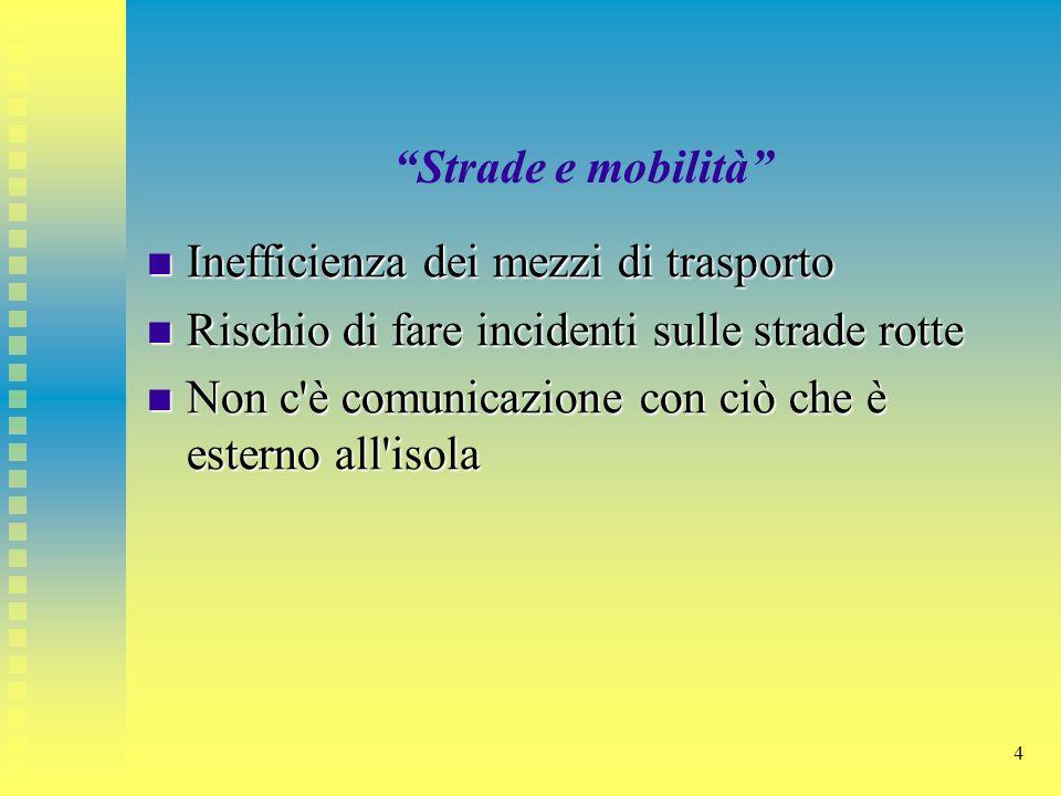 4 Strade e mobilità Inefficienza dei mezzi di trasporto Inefficienza dei mezzi di trasporto Rischio di fare incidenti sulle strade rotte Rischio di fa