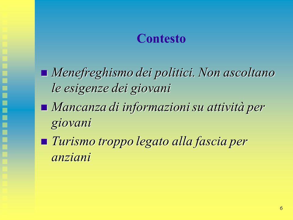 6 Contesto Menefreghismo dei politici. Non ascoltano le esigenze dei giovani Menefreghismo dei politici. Non ascoltano le esigenze dei giovani Mancanz
