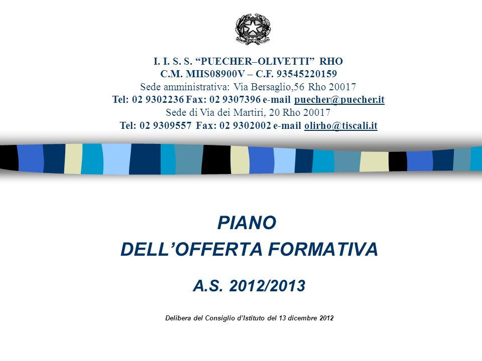 PIANO DELLOFFERTA FORMATIVA A.S. 2012/2013 Delibera del Consiglio dIstituto del 13 dicembre 2012 I. I. S. S. PUECHER–OLIVETTI RHO C.M. MIIS08900V – C.