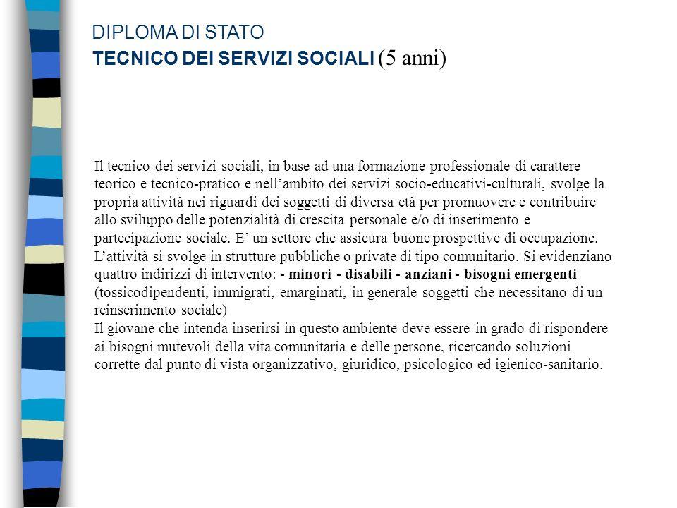 DIPLOMA DI STATO TECNICO DEI SERVIZI SOCIALI (5 anni) Il tecnico dei servizi sociali, in base ad una formazione professionale di carattere teorico e t