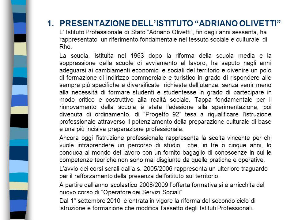 1.PRESENTAZIONE DELLISTITUTO ADRIANO OLIVETTI L Istituto Professionale di Stato Adriano Olivetti, fin dagli anni sessanta, ha rappresentato un riferim