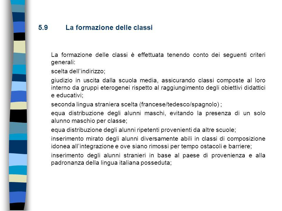 5.9 La formazione delle classi La formazione delle classi è effettuata tenendo conto dei seguenti criteri generali: scelta dellindirizzo; giudizio in