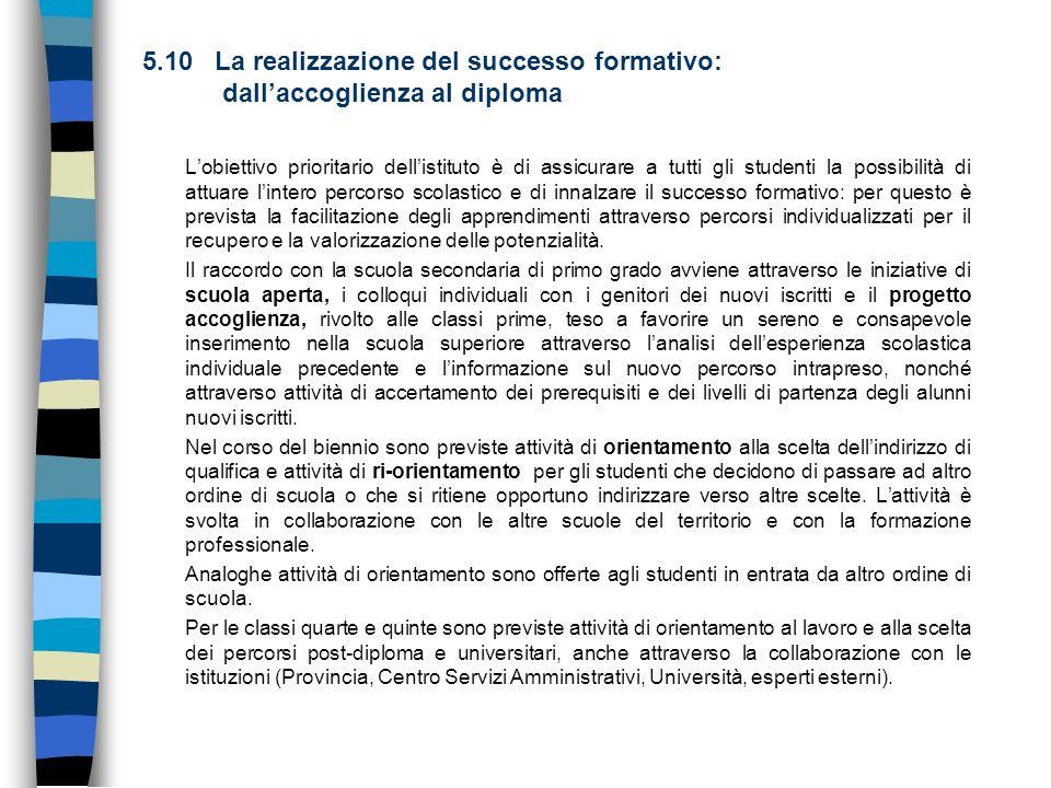 5.10 La realizzazione del successo formativo: dallaccoglienza al diploma Lobiettivo prioritario dellistituto è di assicurare a tutti gli studenti la p