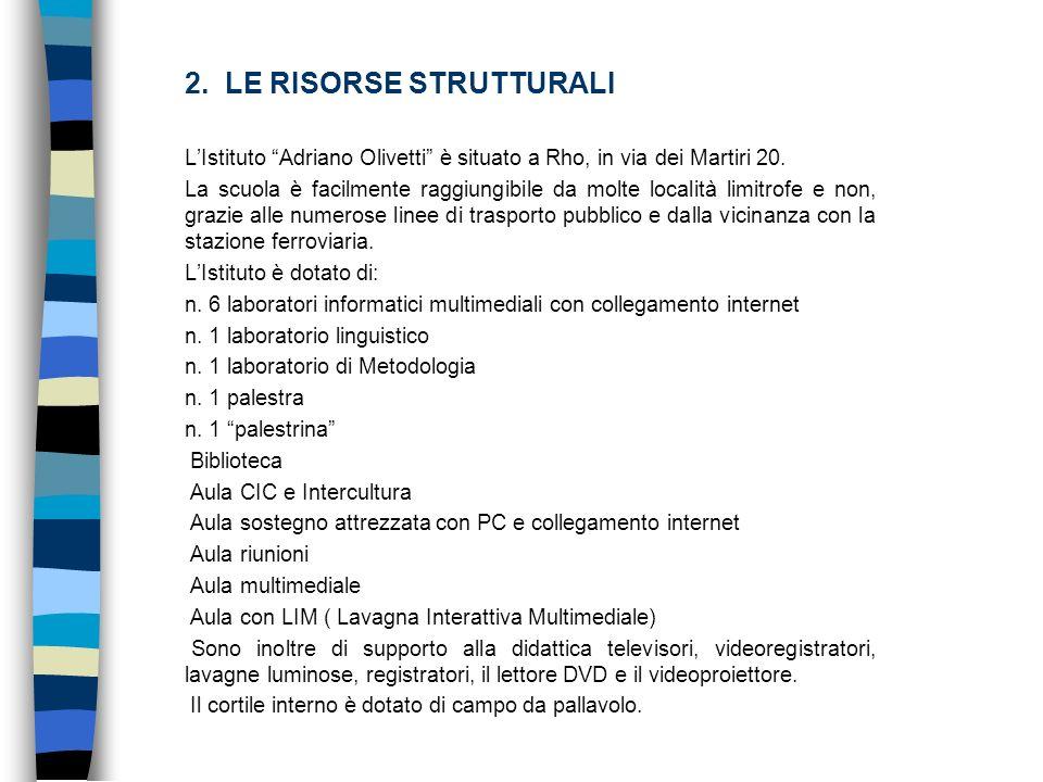 2. LE RISORSE STRUTTURALI LIstituto Adriano Olivetti è situato a Rho, in via dei Martiri 20. La scuola è facilmente raggiungibile da molte località li