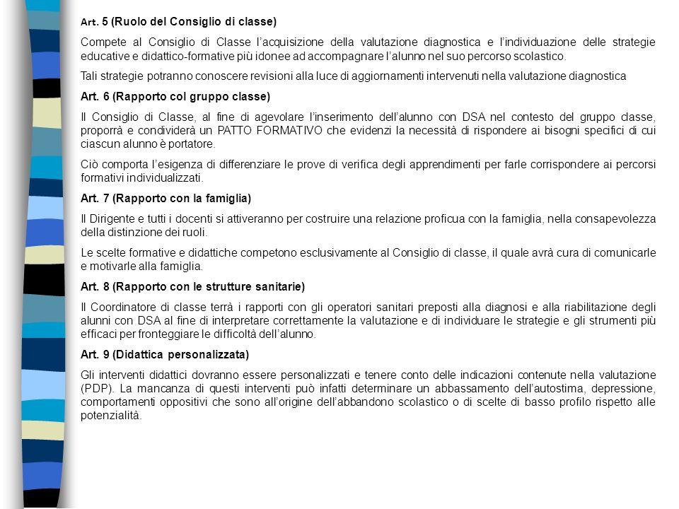 Art. 5 (Ruolo del Consiglio di classe) Compete al Consiglio di Classe lacquisizione della valutazione diagnostica e lindividuazione delle strategie ed