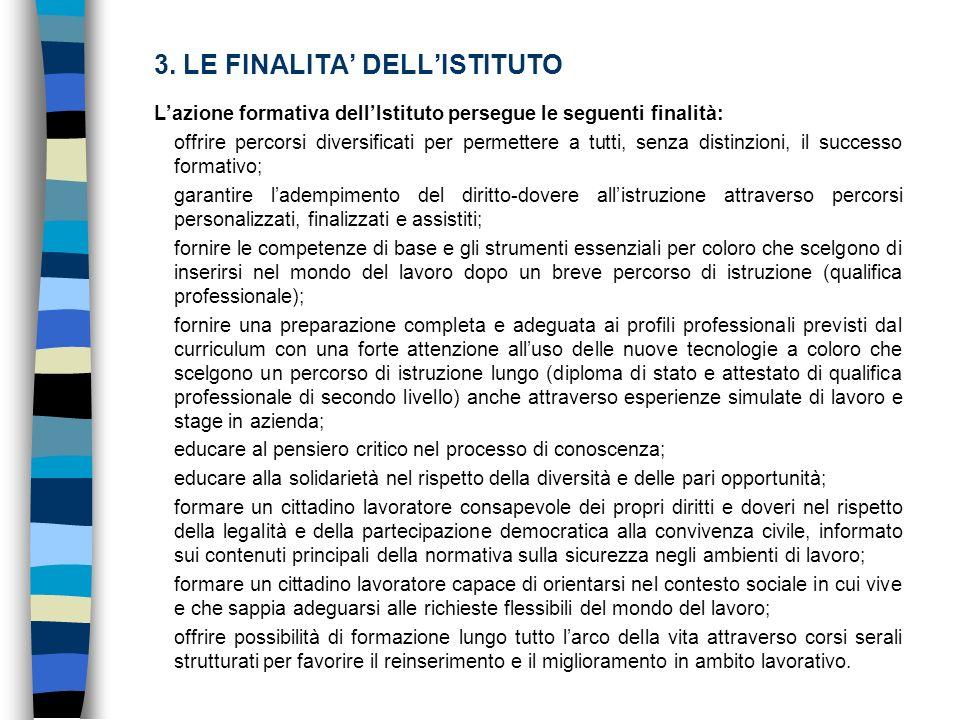 3. LE FINALITA DELLISTITUTO Lazione formativa dellIstituto persegue le seguenti finalità: offrire percorsi diversificati per permettere a tutti, senza