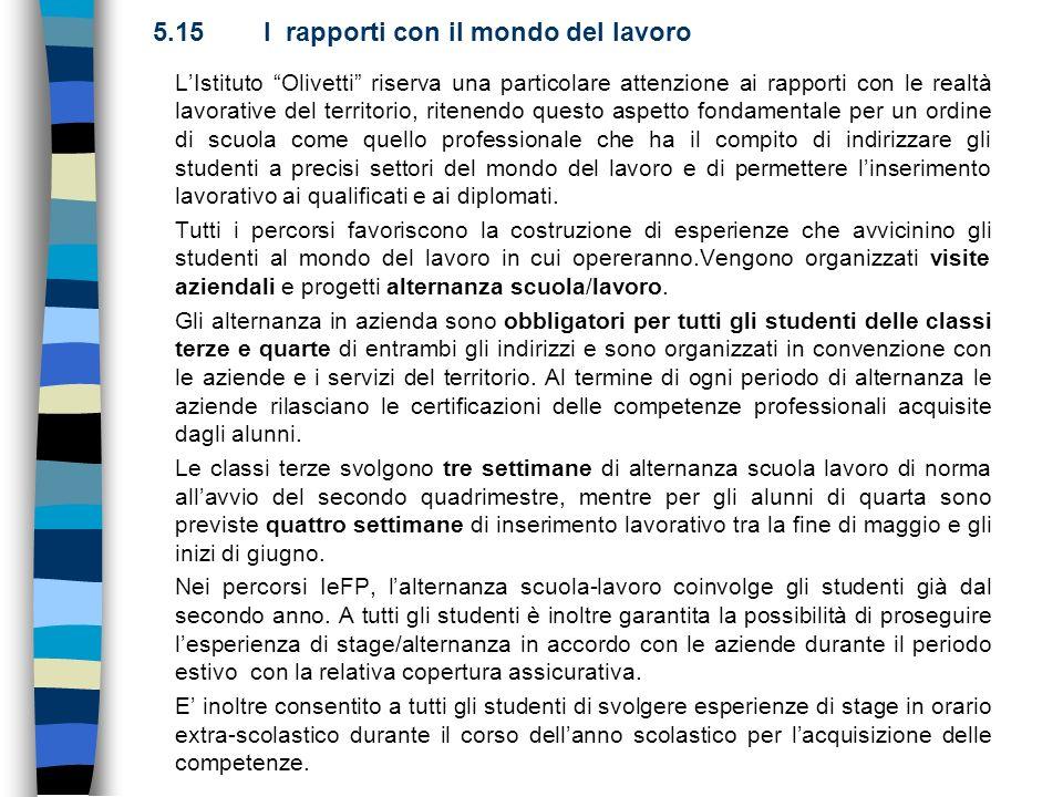 5.15 I rapporti con il mondo del lavoro LIstituto Olivetti riserva una particolare attenzione ai rapporti con le realtà lavorative del territorio, rit